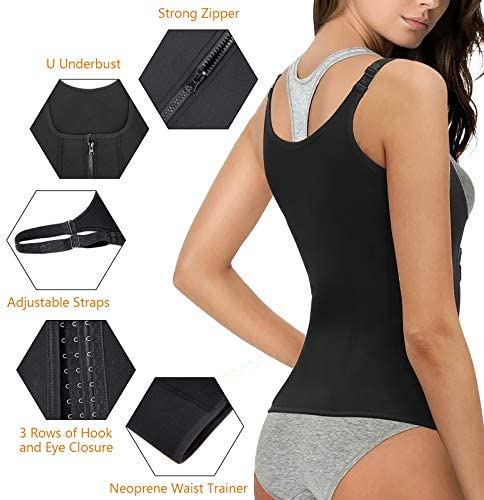 Women Waist Trainer Corset, Zipper Vest Body Shaper Cincher, Shapewear Slimming Sports Girdle, Neoprene Sauna Tank Top with Adjustable Straps 3
