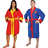 (Set) DC Comics Superman And Wonder Woman Superhero Fleece Bath Robes