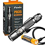 Fenix PD35 V2.0 2018 Upgrade 1000 Lumen Flashlight with Fenix 2600mAh Built-in USB Rechargeable Battery & LumenTac Charging Cable