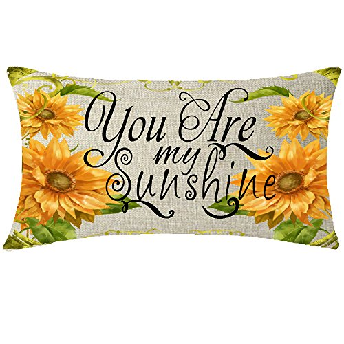 NIDITW Nice Gift Rustic Countryside Sunflower Sweet Quote You are My Sunshine Cotton Linen Lumbar Throw Pillow Case Cover Home Chair Couch Outdoor Decor Oblong 12x20 inches