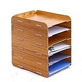 Oak-Pine 6 Tier Detachable Wooden Grain Design Desk A4 File Letter Storage Tray Desktop Cabinet Box Case Office Organizer Rack Shelf (Brown)