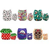 ALVABABY Reuseable Washable Pocket Cloth Diapers 6PCS + 12 Inserts (Girl Color), Gift Set 6DM22