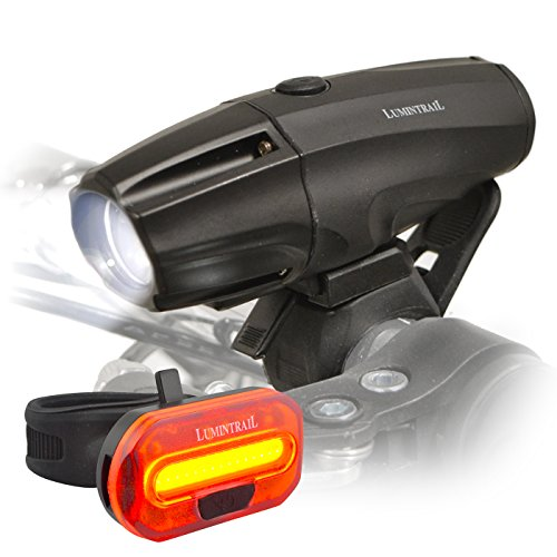 Lumintrail Super Bright USB Rechargeable LED Bike Light Set Headlight Taillight 1000 Lumen Safety Commuter Water Resistant Easy Install & Quick Release