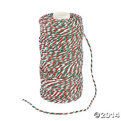Red Green and White Christmas Holiday Baker's Twine - 328 ft