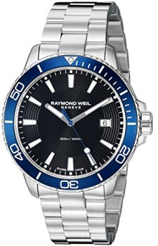 Raymond Weil Men's 'Tango 300' Quartz Stainless Steel Diving Watch, Color: Silver ; Dial Color - black-Toned (Model: 8260-ST3-20001)