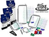 Elipse 4-Hoop Embroidery Package w/ Embroidery Thread and Scissors for Brother PE-700, PE700II, PE-750D, PE-770, PE-780D, Innovis 1000, Innovis 1200, Innovis 1250D, PC-6500, PC-8200, PC-8500 and Babylock Ellure, Emore and Esante