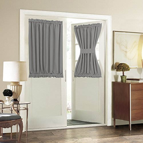 Aquazolax Blackout Curtains 54W x 40L Solid Window Treatment for French Door - 1 Panel, Grey
