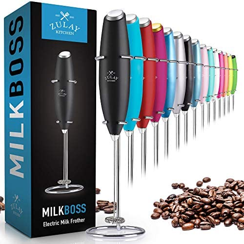 Zulay Original Milk Frother Handheld Foam Maker for Lattes – Whisk Drink Mixer for Coffee, Mini Foamer for Cappuccino, Frappe, Matcha, Hot Chocolate by Milk Boss (Black)