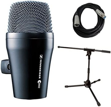Sennheiser e 902 Kick Drum/Bass Microphone with Mic Stand & XLR Cable Bundle