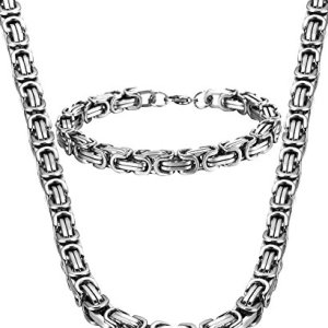Jstyle Stainless Steel Male Chain Necklace Mens Bracelet Jewelry Set, 8mm Wide, 8.5 Inch Bracelet
