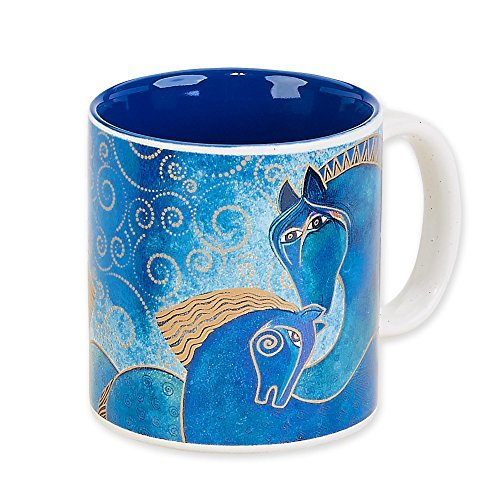 Laurel Burch Artistic Collection 14-ounce Mug, Teal Mares