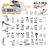 42 pcs Presser Feet Set with Manual & Case SIMPZIA Sewing Machine Foot Kit for Brother, Babylock, Janome, Singer,Elna, Toyota, New Home, Simplicity, Necchi, Kenmore, White (LOW SHANK,SNAP-ON