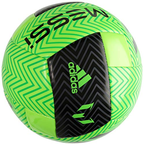adidas Performance Messi Soccer Ball, Solar Green/Black/Solar Lime, Size 3