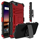 Venoro Compatible with ZTE Tempo X Case, ZTE Blade Vantage Case, Heavy Duty Full Body Protective Case Cover with Kickstand and Belt Swivel Clip Compatible with ZTE Avid 4 (Red/Black)