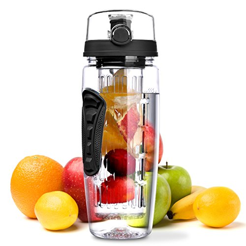 OMorc Sport Fruit Infuser Water Bottle, Toxin Free, Shatter And Impact Resistant With Cleaning Brush, 32 oz., 900 mL, Black