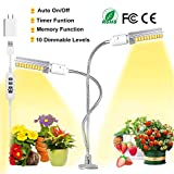 Upgraded Grow Light [Auto Turn on/Off] 45W Dual Head Timing 10 Dimmable Levels 88 LED Indoor Plants with Full Spectrum, 3/9/12H Timer, 3 Switch Modes, 360 Degree Gooseneck