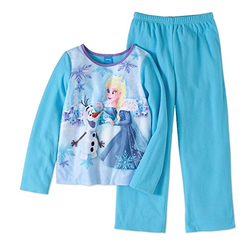 Disney Frozen Girls Elsa Anna Olaf Snowflake 2pc Pajamas, Blue, (4/5)