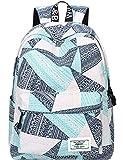 Backpack for Teens, Fashion Geometric Pattern Laptop Backpack College Bags Women Shoulder Bag Daypack Bookbags Travel Bag by Mygreen (Blue&Green&Orange)