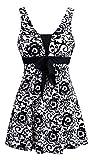 Wantdo Women's Sandy Beach Wear Modest Swimming Costume Over Size Swimsuit Black Porcelain US 10-12
