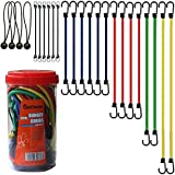 """Cartman Bungee Cords Assortment Jar 24 Piece in Jar - Includes 10"""", 18"""", 24"""", 32"""", 40"""" Bungee Cord and 8"""" Canopy/Tarp Ball Ties"""