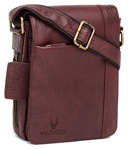 WildHorn Genuine Leather Sling Messenger Bag (Bombay Brown) L- 8.5inch W-3 inch H-10.5 inch