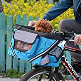 Uheng Bike Basket Bag, Foldable Pet Cat Dogs Carrier Front Removable Bicycle Handlebar Basket Reflective Detachable for Outdoor Cycling Mountain Picnic Shopping Large (Blue)