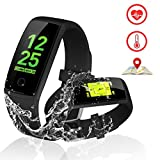 Kirlor Fitness Tracker, V10 New Version Colorful Screen Smart Bracelet with Heart Rate Blood Pressure Monitor,Smart Watch Pedometer Activity Tracker Bluetooth for Android & iOS (V10-Black)