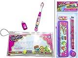 Adorable Shopkins 2 Item Bundle: 1 Brush Buddies Oral / Toothbrush Travel Kit & a 5 Pack Stationary Set (1 Pen Case, 2 Pencils, 1 Eraser, 1 Sharpener)