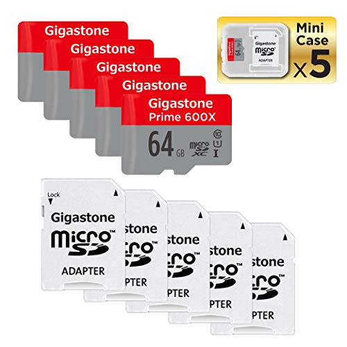 Gigastone Micro SD Card 64GB 5-Pack Micro SDHC U1 C10 with Mini Case and MicroSD SD Adapter High Speed Memory Card C10 Class 10 UHS-I Full HD Video Nintendo Gopro Camera Samsung Canon Nikon DJI Drone