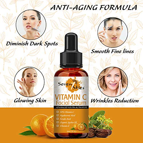 51brXpECroL - Seven Skies Vitamin C Serum For Face And Skin Rejuvenation With Hyaluronic Acid Vitamin C And Vitamin E - Natural Anti Aging & Wrinkle Facial Serum 30ml (1 fl. Oz.)