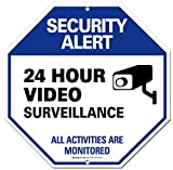 Adt Video Surveillance Sign Cctv Security Alert 24 Hour Surveilance All Activities Are Monitored Sign Legend Large 12 X 12 Octagon Rust Free 0.40 Aluminum Sign Stickers Survuliance Sucurity Stand