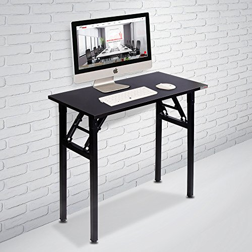 """Need Small Computer Desk Folding Table 31 1/2"""" Length No Assembly Sturdy and Heavy Duty Writing Desk for Small Spaces and Small Folding Desk -Damage Free Deliver(Black Walnut) AC5CB8040"""