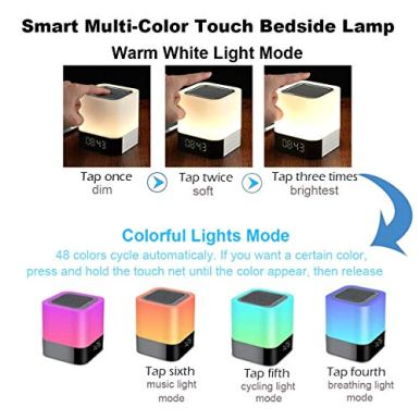 Bluetooth-Speaker-Night-Lights-Alarm-Clock-Bluetooth-Speaker-MP3-Player-Touch-Control-Bedside-lamp-Dimmable-RGB-Multicolor-Changing-LED-Table-Lamp-for-Bedroom-USB-Flash-DriveMicroSDAUX-Support