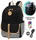 SCIONE School Backpacks for Women Teen Girls Book Bagwith USB Charging Port and Backpack Rain Cover Lightweight Canvas Stripe Backpack Cute Teen Bookpacks Set Bookbags+Insulated Lunch Bag+Pouch 3 in 1