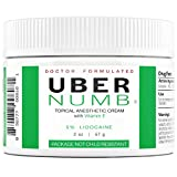 Uber Numb 5% Lidocaine Topical Anesthetic Cream Advanced Formula Rapid Absorption Non-Oily (2 Ounce (NCR))