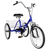 Artudatech Single-Speed 20' Adult 3-Wheel Tricycle Trike Cruise Bike Bicycle with Basket Blue