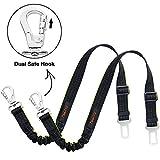 iBuddy Dog Seat Belts for Cars of Medium/Large Dogs, Adjustable Pet Seat Belt for Dog Harness with Dual Safe Bolt Hook and Elastic Durable Nylon Dog Safety Belt for Car (2 Pack)