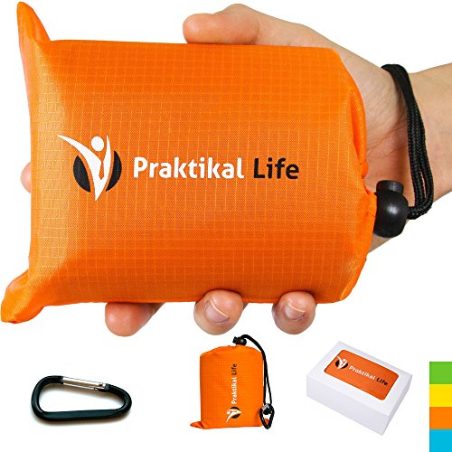 PRAKTIKAL Pocket Blanket -Compact,Picnic,Beach, Outdoor (66' x 55') Made From Premium Soft and Lightweight Waterproof Material Ideal for Camping/Hiking with Practical Pouch and Free Carabiner (Orange)