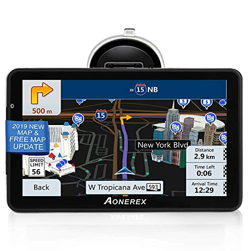 GPS Navigation for car (7 inch/8GB) Aonerex Vehicle GPS Navigation System with Built-in Lifetime Maps,FM Car Navigation and Spoken Turn-by-Turn Directions