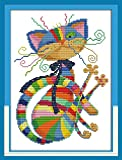 Full Range of Embroidery Starter Kits Stamped Cross Stitch Kits Beginners for DIY Embroidery with 40 Pattern Designs - Colorful cat