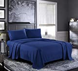 Fresh Linen Queen Sheets [4-Piece, Navy] Hotel Luxury Bed Sheets - Extra Soft 1800 Microfiber Sheet Set, Wrinkle, Fade, Stain Resistant - Deep Pocket Fitted Sheet, Flat Sheet, Pillow Cases