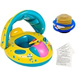 Baby Swimming Float Baby Floats Baby Swimming Float Boat with Sunshade Seat with Horn,Foot Pump,PVC Repair Sheet - Yellow