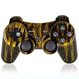 PS3 Controller Wireless PS3 Games Remote - Sixaxis Dualshock Gamepad, Best Gifts for Kids,with USB Charger Cable, for Sony Original Playstation 3(Brassiness) ...