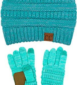 C.C Unisex Soft Stretch Cable Knit Beanie and Anti-Slip Touchscreen Gloves 2 Pc Set 2 Pc Set