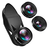 AMIR Phone Camera Lens, 230°Fisheye Lens, 0.65X Super Wide Angle Lens, 15X Macro Lens, Clip on 3 in 1 HD for iPhone Lens Kit for iPhone X, 8 7 Plus 7, Samsung Android Smartphones