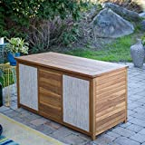 Natural Finish Wood Modern Patio Deck Box with Gray Fabric Accent Storage for Cushions Pool Patio Outdoor...