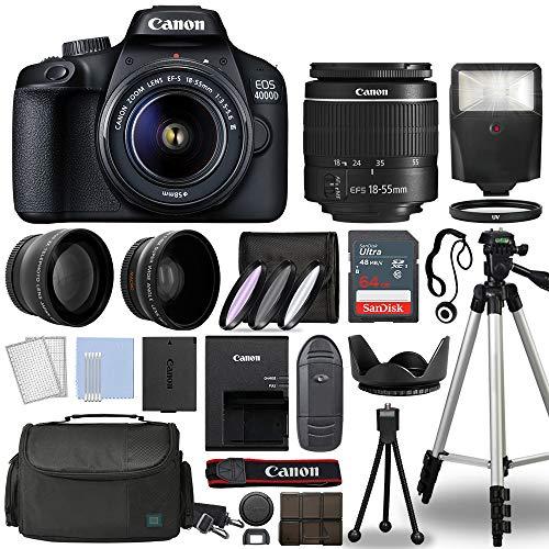 Canon EOS 4000D / Rebel T100 Digital SLR Camera Body w/Canon EF-S 18-55mm f/3.5-5.6 Lens 3 Lens DSLR Kit Bundled with…