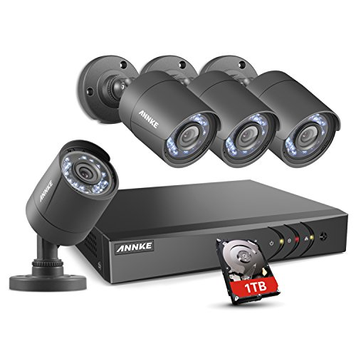 ANNKE 8CH Security Camera System HD-TVI H.264+ Surveillance DVR Recorder with 4×1080P HD Indoor Outdoor Weatherproof CCTV Cameras, 1TB Hard Drive, Motion Alert, Remote Access