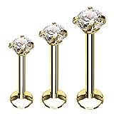 BodyJ4You 3PC Labret Stud Tragus Earring Set 16G Goldtone Steel Crystal Helix Lip Monroe Cartilage