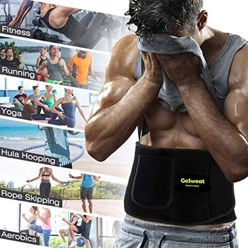 GoSweat Waist Sweat Trainer with Pocket, Plus Size Trimmer Belt for Women & Men, Slimming Band, Belly Wrap for Weight Loss, Stomach Fat Burner, Workout 5